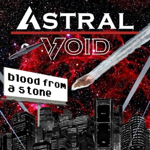 Blood from a Stone EP cover art, meteor crashing into a city burning sky from Astral Void